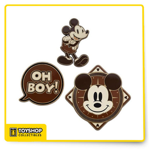 Limited Release Set of three Mickey Mouse pins, as shown Brown enameled cloisonné Gleaming golden finish Mickey icon pinbacks ''Disney Pin Trading 2018'' symbol on back Comes on commemorative card Fourth of 12 sets in this monthly series Mickey celebrates his 90th Anniversary in 2018 Metal / enamel Up to 1 3/4'' H