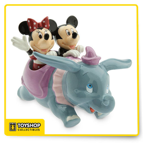 Give mealtimes a lift with this figural salt and pepper set. Mickey and Minnie enjoy a fun ride aboard Dumbo the Flying Elephant with this three-piece set inspired by the Fantasyland attraction. Magic in the details  Created especially for Walt Disney World Resort and Disneyland Resort  Three-piece Salt & Pepper set Includes Dumbo holder, and Mickey and Minnie Mouse shakers Refillable from bottom thanks to a removable plastic stopper   The bare necessities  Wash thoroughly before first use Not dishwasher or microwave safe Ceramic Dumbo: 3 1/2'' H x 5'' W x 6'' L Mickey and Minnie: 2 1/2'' H Imported
