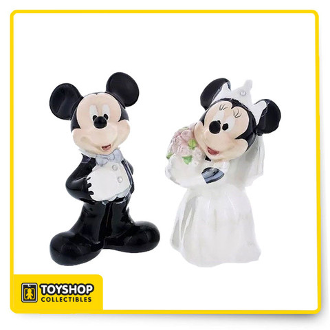 Ceramic salt and pepper shakers Shaped like Mickey and Minnie in wedding attire Refill from the base Other wedding range items available H10.5cm approx