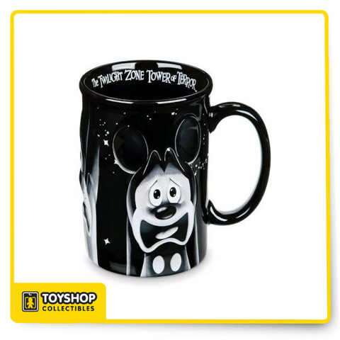 """Hot Beverage Mug Mickey, Donald and Goofy Screen Art In Raised Bas Relief Screen Art """"The Twilight Zone Tower of Terror"""" Script on Inside Lip of Mug Raised Mug Lip Gloss Interior Finish Wash Thoroughly Before First Use Dishwasher Safe And Microwave Safe Ceramic Measures approx. 5"""" H x 3 1/2"""" Diameter (5"""" W at Handle) Holds approx. 12 oz Imported"""