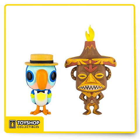 Amazing new theme park exclusive Funko Pop Vinyl 2-pack set. Celebrating the 55th Anniversary of the Enchanted Tiki Room, this special Funko set features the Barker-Bird and Pele.