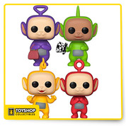 """Over the hills and far away, Teletubbies come to play …  The bundle includes:  - 1 x Funko Pop Teletubbies Dipsy.  -1 x Funko Pop Teletubbies Po.  -1 x Funko Pop Teletubbies Laa Laa.  -1 x Funko Pop Teletubbies Tinky Winky"