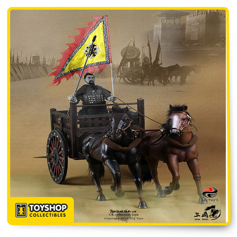 Designed for 303's extremely popular 1/6 Guan Yu figure, but an excellent collectible in its own right, the 303 1/6 Chinese Ancient Chariot Set features fine detailed construction, two horses, and a flag. Figure sold separately.