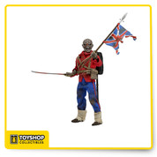 "Get your retro fix with this poseable 8"" figure of Eddie, straight from the cover of Iron Maiden's single The Trooper! The legendary metal mascot is dressed in tailored fabric clothing similar to the retro toy lines that helped define the licensed action figure market in the 1970s. The Trooper Eddie comes with tattered Union Jack and saber accessories. Blister card packaging with removable protective clamshell."