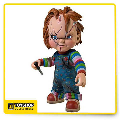 """Chucky, the homicidal doll who contains the spirit of Charles Lee Ray, a serial killer better known as """"The Lakeshore Strangler,"""" is the latest perturbed plaything to be produced by Mezco Toyz. Mezco's award-winning designers have created an all new sculpture in an all new scale that not only captures the look of Chucky, but the very essence of his menace. Every detail has been captured; from his classic coveralls to the unique imprint of the soles on his sneakers. From his glistening, insane eyes and his sneering lips, to his shocking red hair, this is Chucky at his most iconic. And most evil!"""