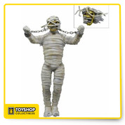 "Celebrate the 30th Anniversary of the classic metal masterpiece – Iron Maiden's POWERSLAVE – with this amazing ""Mummy"" Eddie. Based on the poster and program artwork from their groundbreaking 1984-1985 World Slavery Tour, this 8"" tall Eddie action figure features real metal chains that can be connected to the mouth or unhooked for when he breaks free."