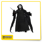 Ghost Face stands 8″ tall with a tailored robe, hood and sleeves modeled after the real life Ghost Face costume. He features a screen-accurate sculpted mask and 3 different hands, and comes complete with a cell phone, voice changer and his trusty knife.
