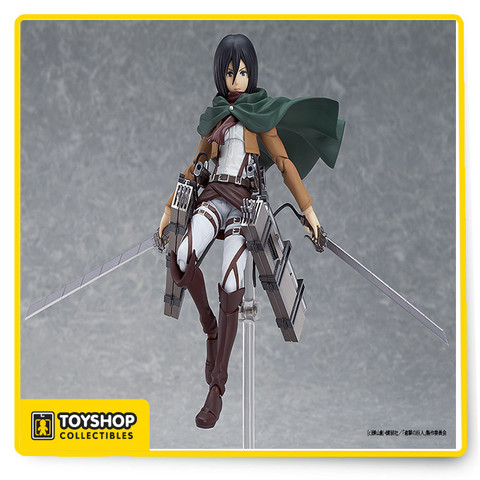 From Max Factory/Good Smile Company! Yes. this world is cruel. From the smash hit anime series Attack on Titan comes a figma of Mikasa Ackerman! Using the smooth yet posable joints of figma, you can act out a variety of different scenes. She comes with three expressions including her standard emotionless expression, a shouting expression and an expression with clenched teeth. Her dual blades are included for combat scenes, along with her Vertical Maneuvering Equipment and smoke effects to recreate its use. The hooks connected to a wire that shoot out from the equipment are also included, along with an optional mantle. An articulated figma stand is included, which allows various posing options