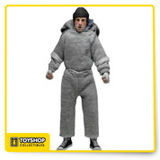 "Rocky  8"" figure is dressed in tailored fabric clothing similar to the retro toy lines that helped define the licensed action figure market in the 70's. Rocky is based on his iconic run through the streets of Philadelphia. He comes complete with layered swear suit with hood and newly sculpted hands and feet with a photo-realistic portrait."