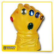 The Infinity Gauntlet will rule all creation when the six Infinity Gems are affixed to the glove and now it can rule your loose change with this impressive bank.