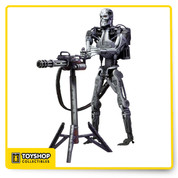 """Robocop vs. The Terminator answered the burning question of sci-fi fans worldwide: which man/machine would win in a fight? The """"future of law enforcement"""" or the actual future?  The Endoskeleton comes with a standing Heavy Machine Gun accessory  figure  fully articulated and stand approximately 7"""" tall."""