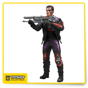 """The Terminator answered the burning question of sci-fi fans worldwide: which man/machine would win in a fight? The """"future of law enforcement"""" or the actual future?  The T-800 includes a Plasma Rifle accessory and the figure is fully articulated and stand approximately 7"""" tall."""