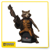 The break-out character of Marvel's Guardians of the Galaxy film, the trigger-happy Rocket Raccoon has been sculpted as a bust bank by Monogram  from Diamond