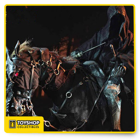 Awesome! own this deluxe 1/6 scale figure of the Ringwraith and Nazgul Steed from Lord of the Rings: Return of the King. A detailed and terrifying likeness of the Nazgul and steed from Lord of the Rings. Features a fully Kaustic Plastik body, armor and robes, and Witchking sword. Horse includes armor and tack, sculpted desiccated flesh with real and implanted hair, and LED light-up