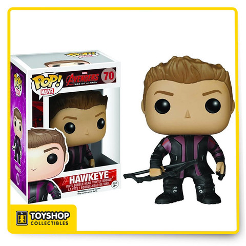 Assemble Marvel's Avengers to defeat man's mightiest foe - Ultron! Collect the whole team, including the Avengers Age of Ultron Hawkeye Pop! Vinyl Bobble Head Figure! This archery-skilled hero measures approximately 3 3/4-inches tall.