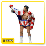 Rocky is the fifth figure in our highly successful line of classic 8 bit video game tributes. Released in 1987 for the super popular 8-bit home console, the video game Rocky is an 80's classic. He is 7 Inch tall with removable American flag that can be draped over his shoulders. Painted if a stylized approach with a hint of cell shading.