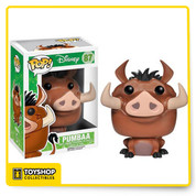 The flatulent warthog from Disney's The Lion King is now a vinyl figure! The Lion King Pumbaa Pop Vinyl Figure measures about 3 3/4-inches tall. A fun recreation of the proud not-pig in the movie The Lion King, this figure makes a great collectible for Disney fans. Ages 8 and up.