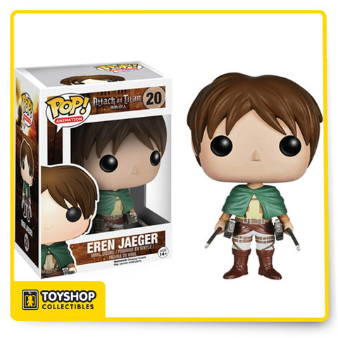 Attack on Titan is one of the biggest anime and manga sensations and it's about to get bigger! That's right - the popular series is joining the Pop! vinyl family! The Attack on Titan Eren Jaeger Pop! Vinyl Figure stands an impressive 3 3/4-inches tall. Ages 14 and up.