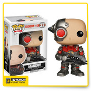 From 2K Games' multiplayer game, Evolve, Markov is an Assault Hunter with the ability to become temporarily invulnerable! The Evolve Markov Pop! Vinyl Figure measures approximately 3 3/4-inches tall. Hunt or be hunted! Ages 17 and up.