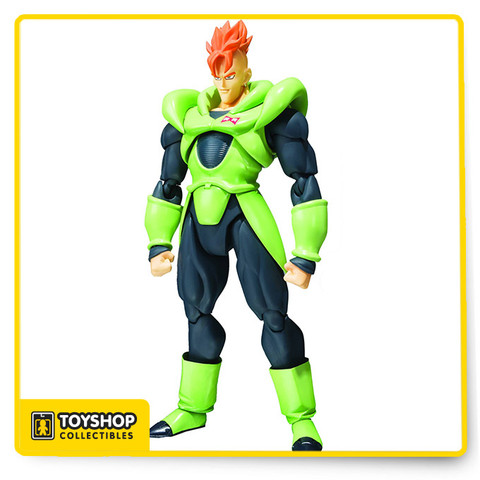 """From Tamashi Nations. Who was Dr. Gero's orange haired and entirely synthetic android creation? You guessed it, Android 16! The powerful Android 16 joins 17 and 18 in the S.H.Figuarts lineup. Android 16 comes with 3 interchangeable face parts (yelling, laughing, and battle damage design) perfect for recreating your favorite Dragon Ball scenes! Interchangeable right and left hands are also included. Figure stands 6 1/4"""" tall. Window box packaging."""