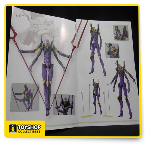 Kotobukiya's kit of the EVA-13 is amazingly detailed! Fully posable after assembly, it stands about 19cm tall; some of its parts are pre-painted.  It can be assembled with four arms if you choose, and seven sets of interchangeable hands are included.  Weaponry includes two spears and four defending units and posts and stands to display them on.  Don't miss it!