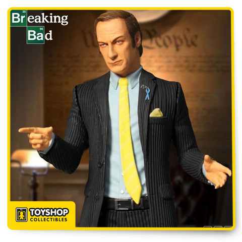 """This classic character Saul quickly won over fans worldwide in the hit show Breaking Bad  and now this  figure can stand as a reminder when you're in a bind, """"Better call Saul!"""" His pinstriped business suit is complimented by his token wireless headset and light blue Wayfarer 515 awareness ribbon. The Breaking Bad Saul Goodman 6-Inch Action Figure comes complete with his business card in a display friendly blister card package. Ages 15 and up"""
