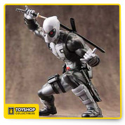 This time Deadpool ditches his iconic red and black costume for the black and gray X-Force variant that still features the same abundance of straps, pouches, extra ammunition, spare weapons, pointy hood with mask, and of course his cute Deadpool logo belt buckle. In his low crouch the assassin leans forward with his other hand extended in front of him, and you can choose between interchangeable left hands that either give a thumbs up or wield a second sword! Sculpted by Junnosuke Abe, X-Force member Deadpool stands 6 inches