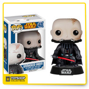 Star Wars Darth Vader Unmasked Pop! Vinyl Figure. Where's your helmet, Vader? It probably gets pretty uncomfortable inside that thing, so the Dark Lord has shed his helm for this 3 3/4-inch tall Star Wars Darth Vader Unmasked Pop! Vinyl Figure. What do you think? Ages 3 and up.