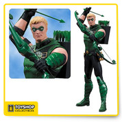 THE EMERALD ARCHER. The Green Arrow aims for the heart of injustice in this new action figure straight from the pages of DC Comics—The New 52. But does a renegade like Oliver Queen really belong with the Justice League? Either way – he DOES belong on your shelf.