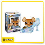 Based on Disney's 2015 live action re imagination of Cinderella, decorate your desk with the legendary glass slipper and one of Cinderella's furry friends! The Disney Cinderella Live Action Gus Gus in Slipper Pop! Vinyl Figure stands approximately 3 3/4-inches tall as a stylized, Pop! version of her film counterpart, played by actress Lily James. Give this cute vinyl figure a fairy tale ending!