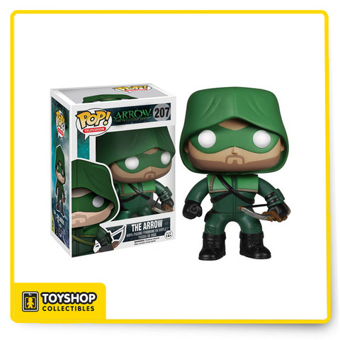 "As seen in the hit series Arrow, billionaire Oliver Queen (aka Green Arrow) was stranded on an island for 5 years, where he had to fight to survive. Now that crime-fighting hero is a stylized 3 3/4-inch tall Pop! Vinyl Figure! You don't want to hear Ollie say you've fail this city, so bring home ""The Hood"" today!"