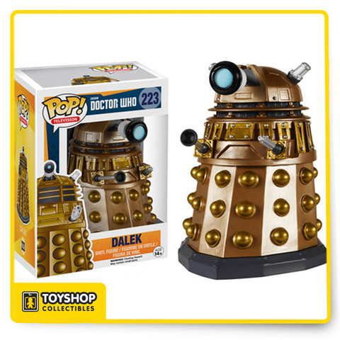 Exterminate! Collect all the villainous villains from Doctor Who style. Star with this 3 3/4-inch tall Doctor Who Dalek Pop! Vinyl Figure, and get your order in before run away thing happens! Ages 14 and up.