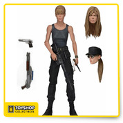 The mother of the savior of mankind gets the deluxe action figure treatment! This Terminator 2 Sarah Connor Deluxe 7-Inch Action Figure features the authorized likeness of Linda Hamilton and over 25 points of articulation. To protect the future leader of the resistance, Sarah comes loaded with accessories: three interchangeable heads, removable tactical vest, rifle, shotgun, handgun, and a knife! This figure also includes collector-friendly deluxe window box packagin