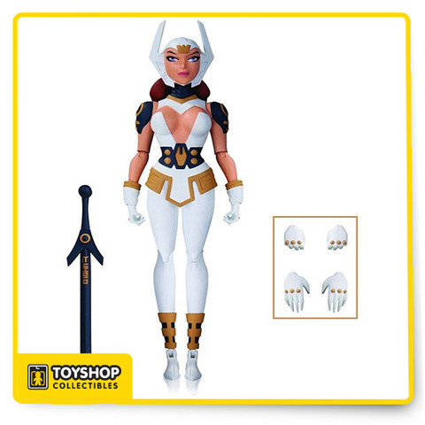 "The Justice League Gods & Monsters Wonder Woman 6"" Action figure design from the original animated movie of legendary animator Bruce Timm are brought to life as articulated figures ready for action! Each figure comes with multiple accessories and base!"