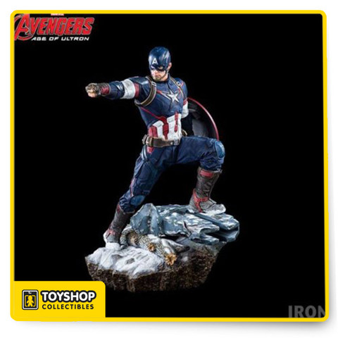 Legacy Replica 1:4 Scale based on the original concept of the film Avengers: Age of Ultron Snow themed base. Magnetic shield with 2 options of display (Left arm or Back). 400 Limited edition from Iron Studios.