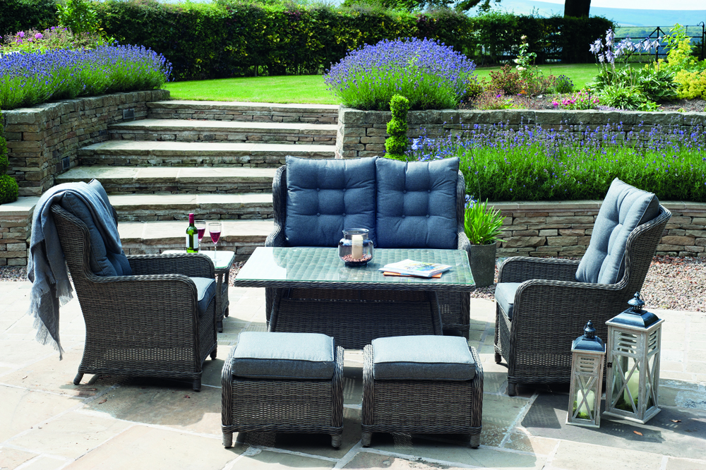 St Kitts Grey Rattan Relaxed Dining Set (18-086-CG)
