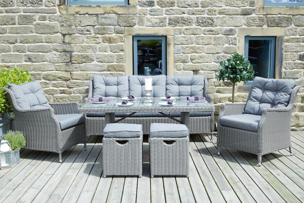 Jamaica Grey Rattan Relaxed Dining Sofa Set (18-131-SG)