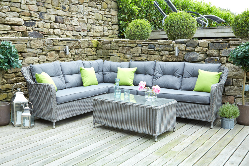 Antigua Grey Rattan Corner Sofa Set (18-133-SG)
