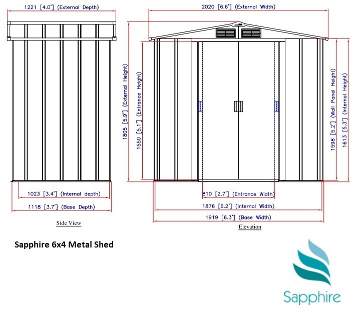 6x4 Sapphire Metal Shed Dimensions