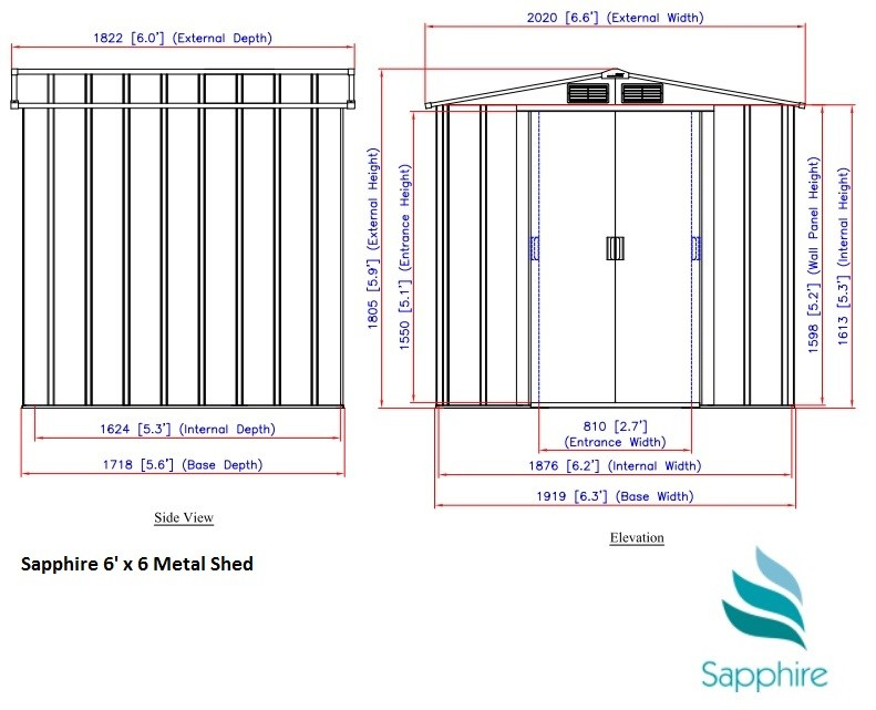 6x6 Sapphire Metal Shed Dimensions