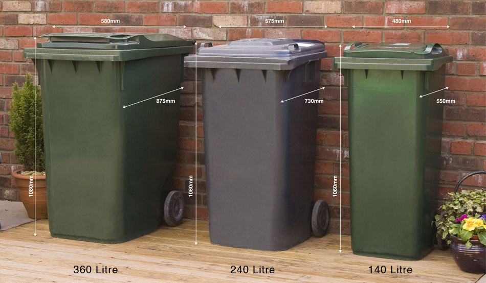 What size is my wheelie bin?