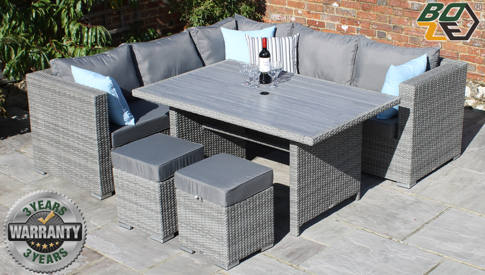 Boze Amelie Grey Rattan 8PC Garden Corner Dining Sofa Set