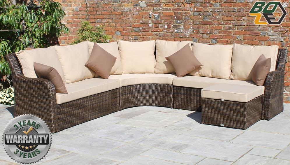 Boze Imogen Brown Rattan Garden Corner Sofa Set With Footstool