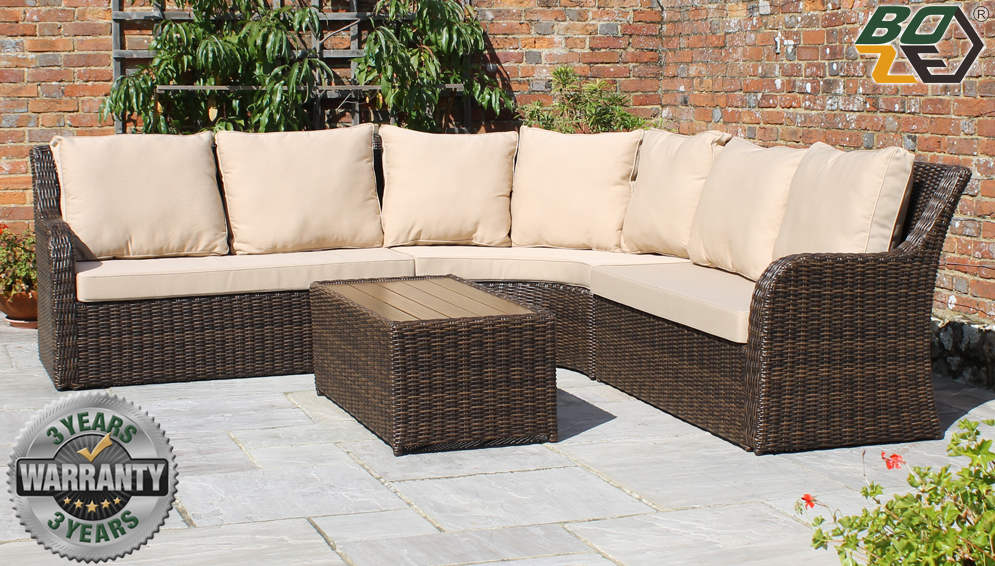 Boze Imogen Brown Rattan Garden Corner Sofa Set With Coffee Table
