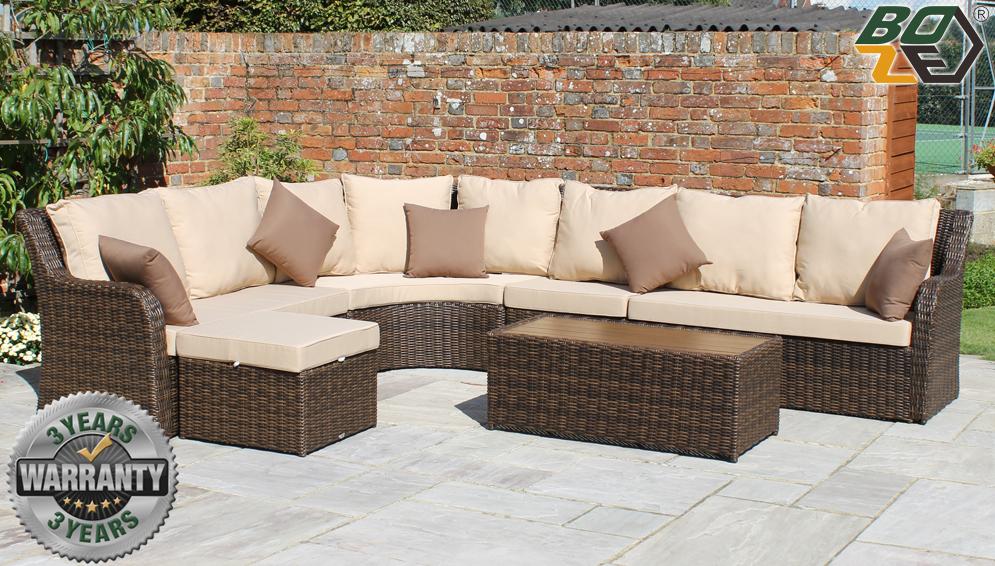 Boze Imogen 6PC Brown Rattan Garden Corner Sofa Set