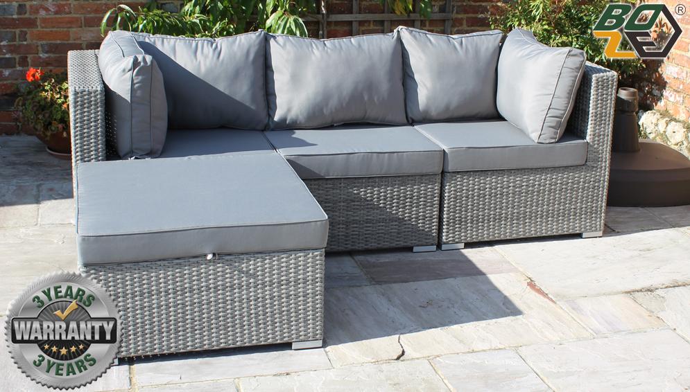 Boze Amelie Grey Rattan 4PC Garden Sofa Set