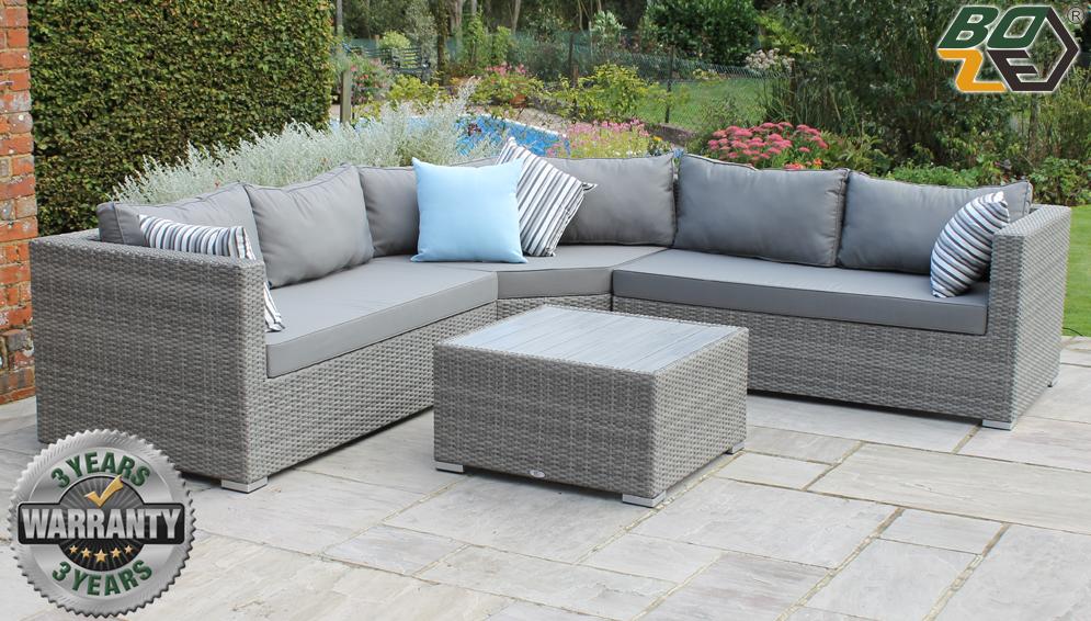 Boze Amelie Grey Rattan L Shape Trapeeze Garden Corner Sofa Set