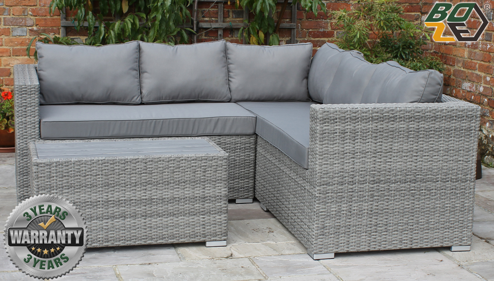 Boze Amelie Grey Rattan 3PC Garden Corner Sofa Set With Right Arm