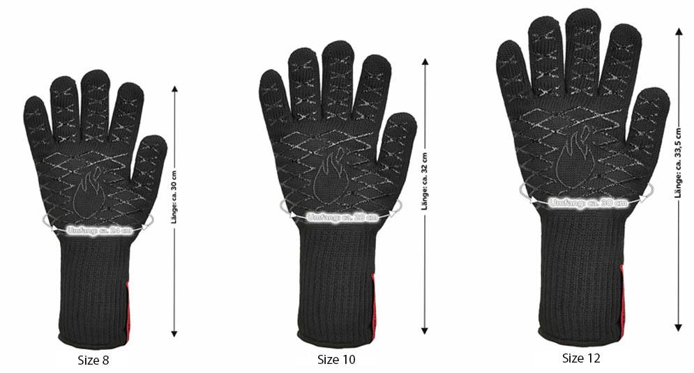 Feuermeister Grill Gloves Aramid Black Dimensions