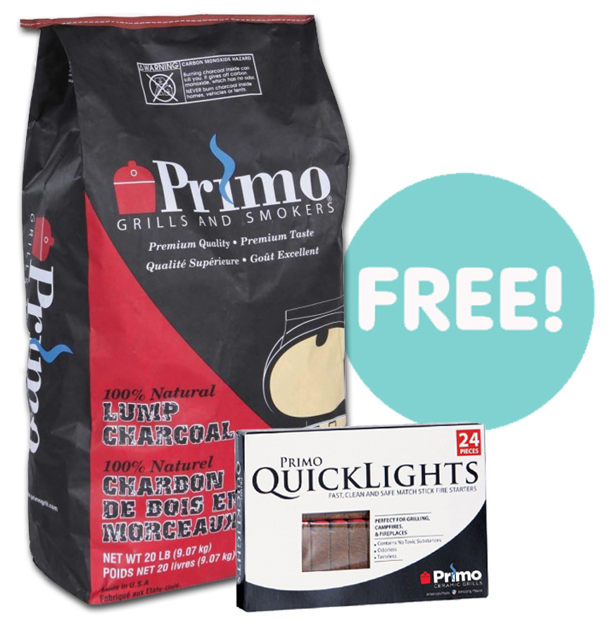 FREE Lump Charcoal & Quick Lights With This Primo Grill